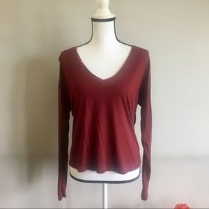 7 for all mankind burgundy long sleeve v neck tee